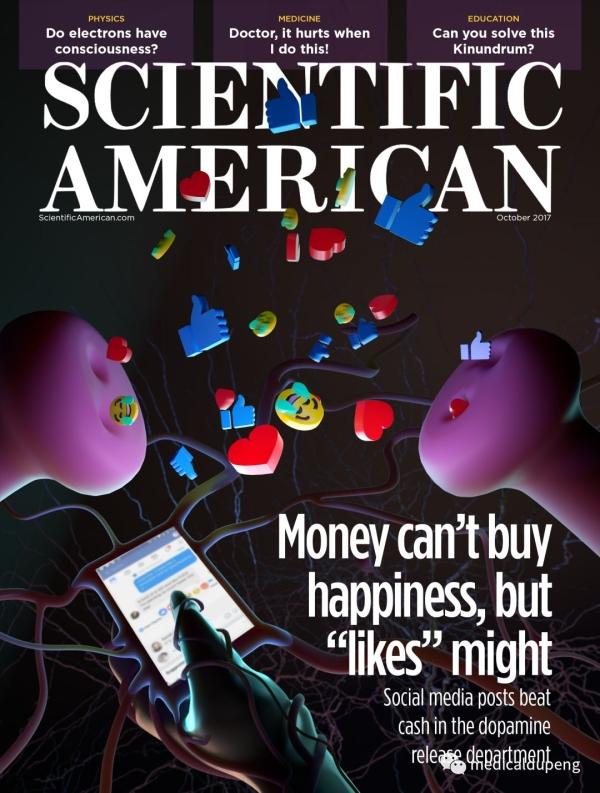 """《科学美国人》杂志模拟封面设计,有关社交媒体问题(金钱无法买到快乐,但""""点赞""""可以) Scientific American Mock Cover for Social Media Issue 美国医学插画师协会 2018 沙龙展"""