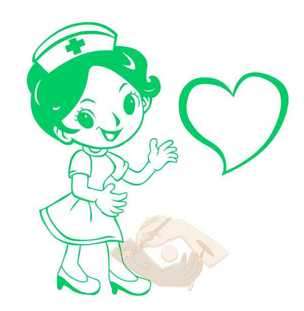 绘制爱心小护士贴纸 效果 - 独家课程【SCI论文、生物医学科学插画培训-矢量图-高能绘图技法】
